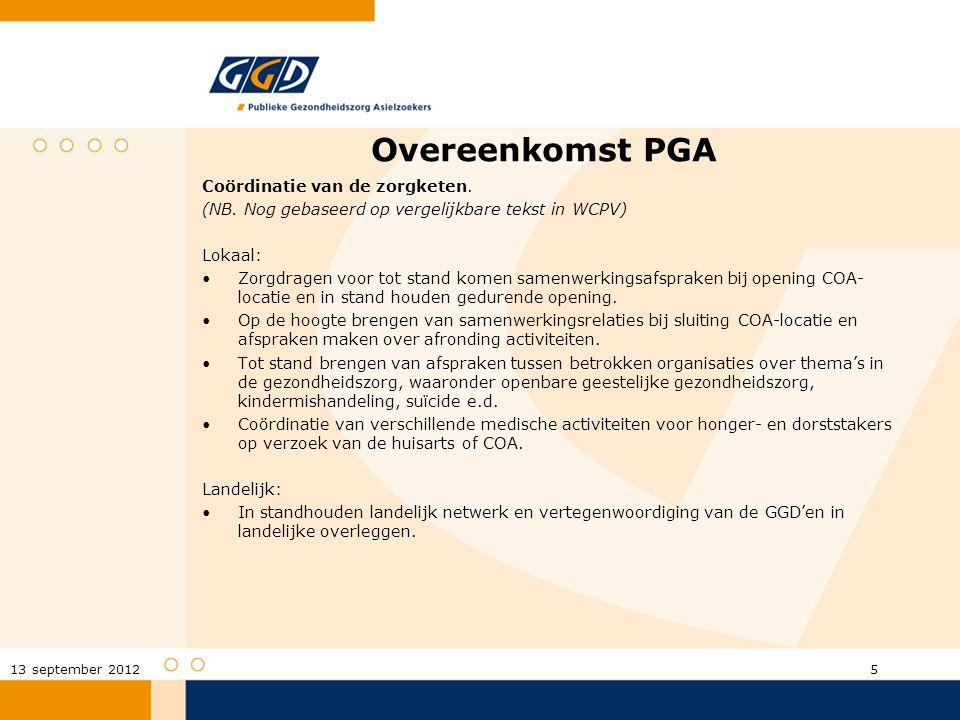 Overeenkomst PGA Coördinatie van de zorgketen. (NB. Nog gebaseerd op vergelijkbare tekst in WCPV) Lokaal: Zorgdragen voor tot stand komen samenwerking