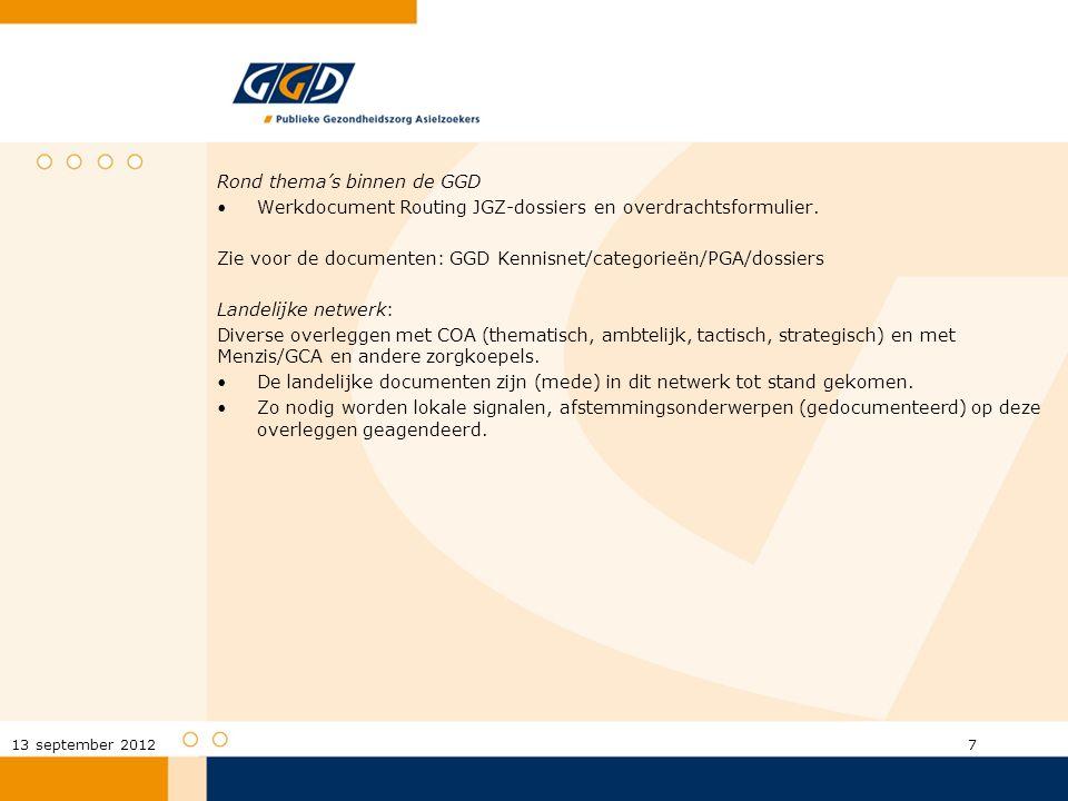 Rond thema's binnen de GGD Werkdocument Routing JGZ-dossiers en overdrachtsformulier. Zie voor de documenten: GGD Kennisnet/categorieën/PGA/dossiers L
