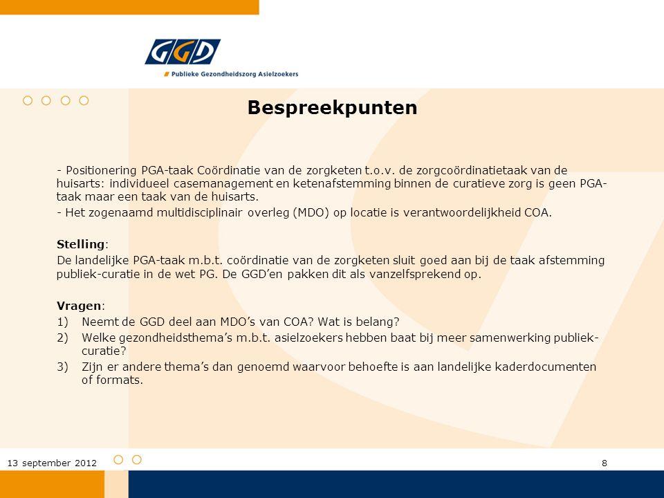 Bespreekpunten - Positionering PGA-taak Coördinatie van de zorgketen t.o.v. de zorgcoördinatietaak van de huisarts: individueel casemanagement en kete
