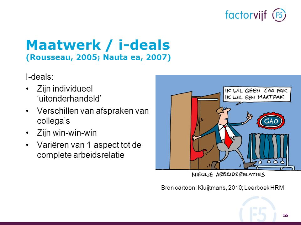 Maatwerk / i-deals (Rousseau, 2005; Nauta ea, 2007) I-deals: Zijn individueel 'uitonderhandeld' Verschillen van afspraken van collega's Zijn win-win-win Variëren van 1 aspect tot de complete arbeidsrelatie 15 Bron cartoon: Kluijtmans, 2010; Leerboek HRM