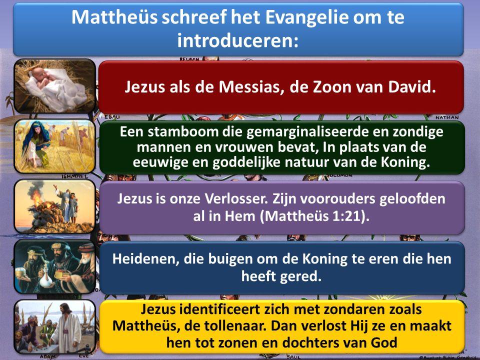 In het begin was het Woord en het Woord was bij God en het Woord was God. (Johannes 1:1) Hij heeft de werelden gemaakt… en draagt alle dingen door het woord van Zijn kracht. (Hebreeën 1:2-3) Wiens oorsprong is van oudsher, van eeuwige dagen af (Micha 5:1 HSV) Zoals het Oude Testament begon met een boek over de Schepping van de wereld, begint Mattheüs (hier het Nieuwe Testament zelf) met een boek over de Schepper Zelf, en over het werk van Verlossing dat alleen door de Schepper kon worden volbracht.