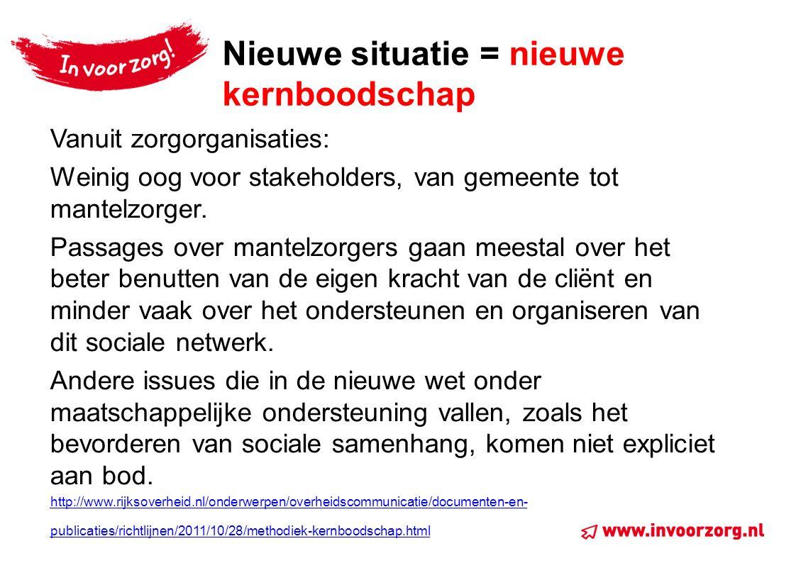 Nieuwe situatie = nieuwe kernboodschap Vanuit zorgorganisaties: Weinig oog voor stakeholders, van gemeente tot mantelzorger.