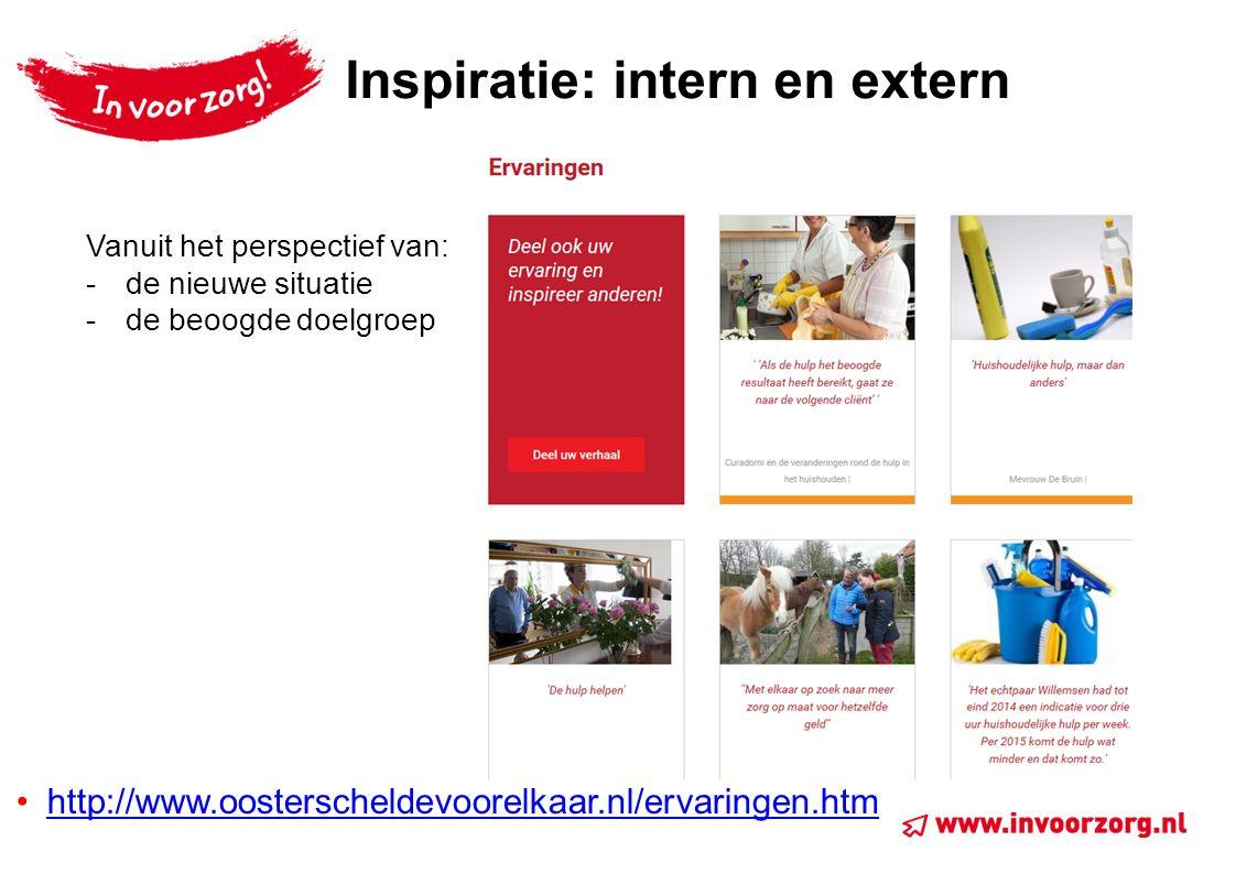 Inspiratie: intern en extern http://www.oosterscheldevoorelkaar.nl/ervaringen.htm Vanuit het perspectief van: -de nieuwe situatie -de beoogde doelgroep