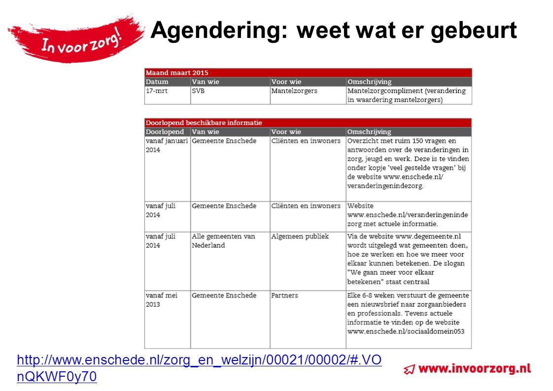 Agendering: weet wat er gebeurt http://www.enschede.nl/zorg_en_welzijn/00021/00002/#.VO nQKWF0y70
