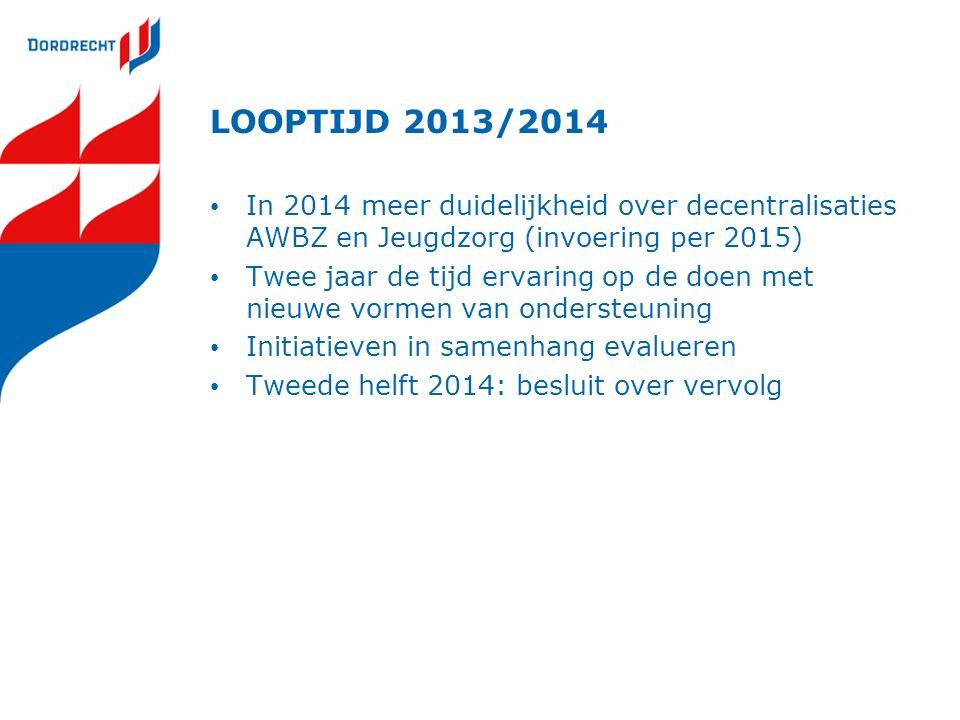 LOOPTIJD 2013/2014 In 2014 meer duidelijkheid over decentralisaties AWBZ en Jeugdzorg (invoering per 2015) Twee jaar de tijd ervaring op de doen met nieuwe vormen van ondersteuning Initiatieven in samenhang evalueren Tweede helft 2014: besluit over vervolg