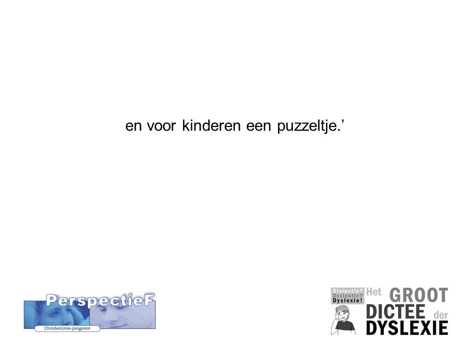 en voor kinderen een puzzeltje.'