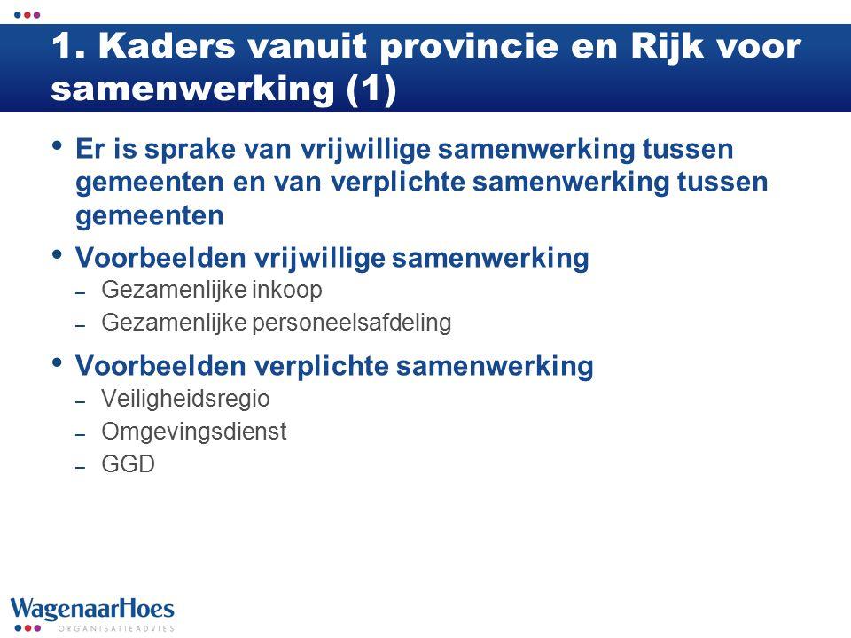 1. Kaders vanuit provincie en Rijk voor samenwerking (1) Er is sprake van vrijwillige samenwerking tussen gemeenten en van verplichte samenwerking tus