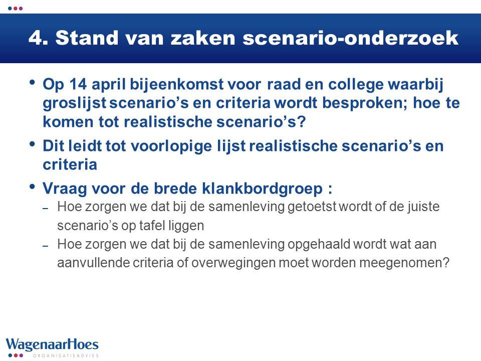 4. Stand van zaken scenario-onderzoek Op 14 april bijeenkomst voor raad en college waarbij groslijst scenario's en criteria wordt besproken; hoe te ko