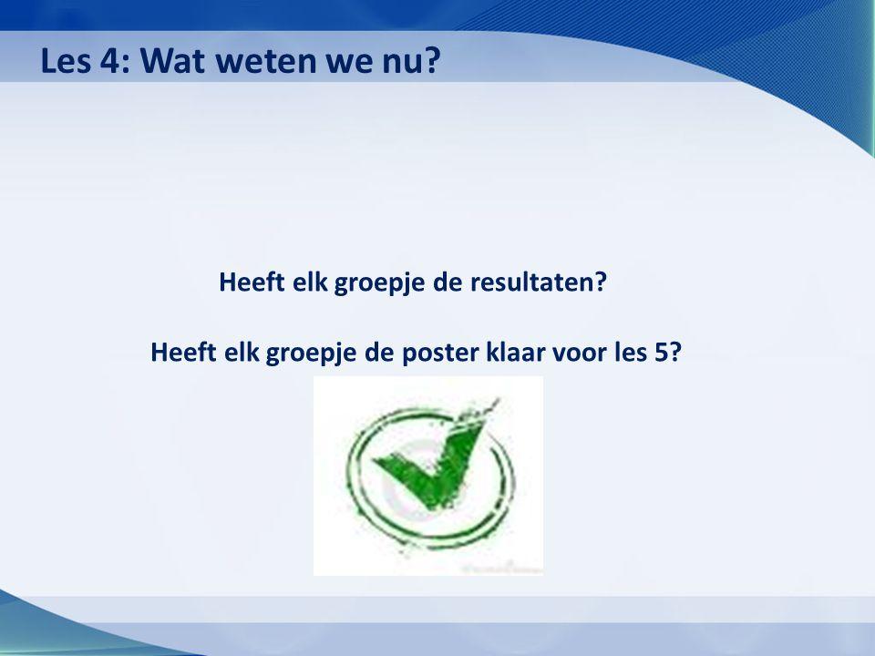 Heeft elk groepje de resultaten? Heeft elk groepje de poster klaar voor les 5? Les 4: Wat weten we nu?