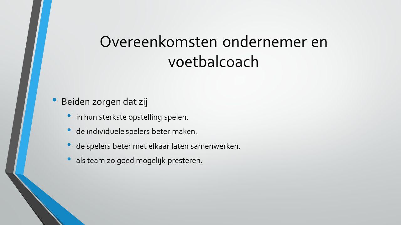 Overeenkomsten ondernemer en voetbalcoach Beiden zorgen dat zij in hun sterkste opstelling spelen.