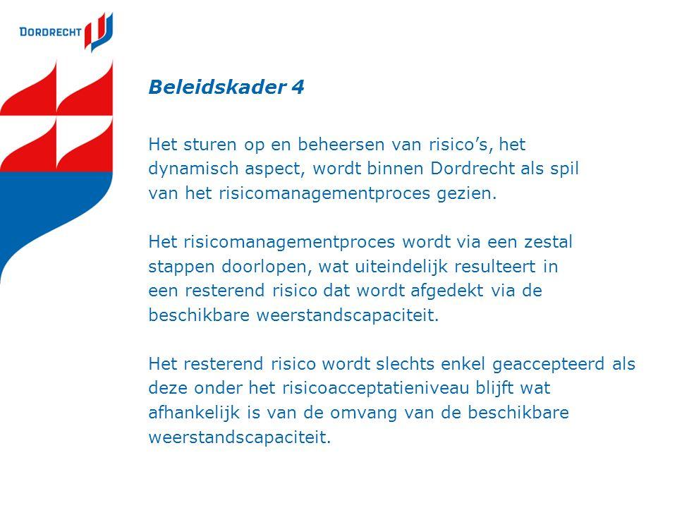 Beleidskader 4 Het sturen op en beheersen van risico's, het dynamisch aspect, wordt binnen Dordrecht als spil van het risicomanagementproces gezien.