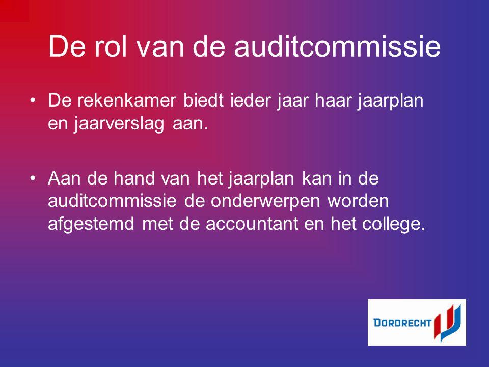 De rol van de auditcommissie De rekenkamer biedt ieder jaar haar jaarplan en jaarverslag aan.