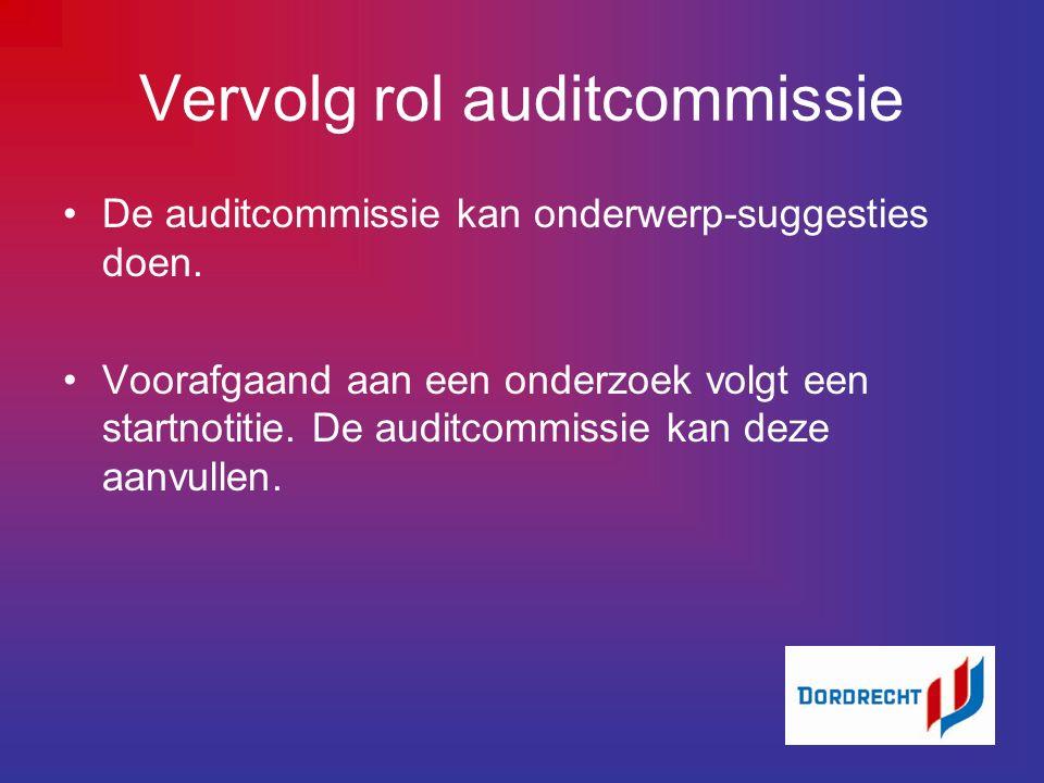 Vervolg rol auditcommissie De auditcommissie kan onderwerp-suggesties doen.