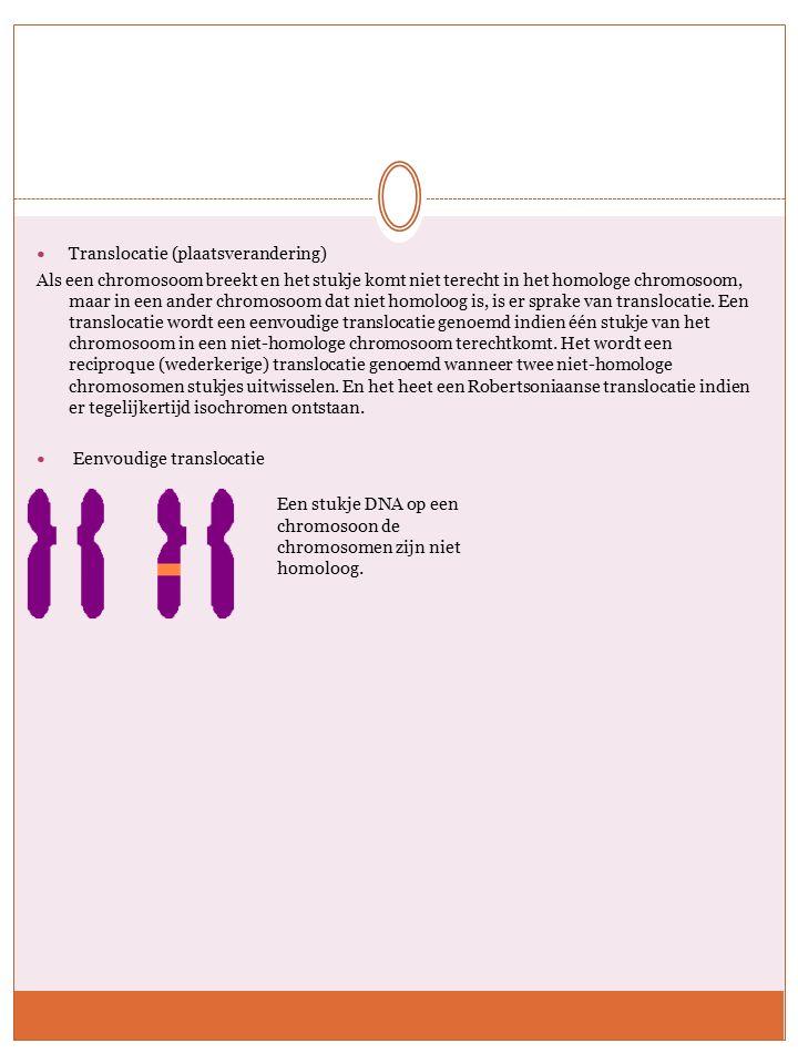 Translocatie (plaatsverandering) Als een chromosoom breekt en het stukje komt niet terecht in het homologe chromosoom, maar in een ander chromosoom dat niet homoloog is, is er sprake van translocatie.