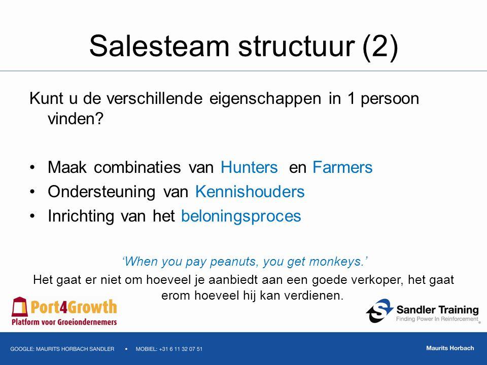 Salesteam structuur (2) Kunt u de verschillende eigenschappen in 1 persoon vinden? Maak combinaties van Hunters en Farmers Ondersteuning van Kennishou