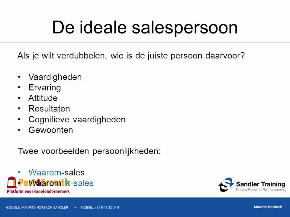 De ideale salespersoon Als je wilt verdubbelen, wie is de juiste persoon daarvoor? Vaardigheden Ervaring Attitude Resultaten Cognitieve vaardigheden G