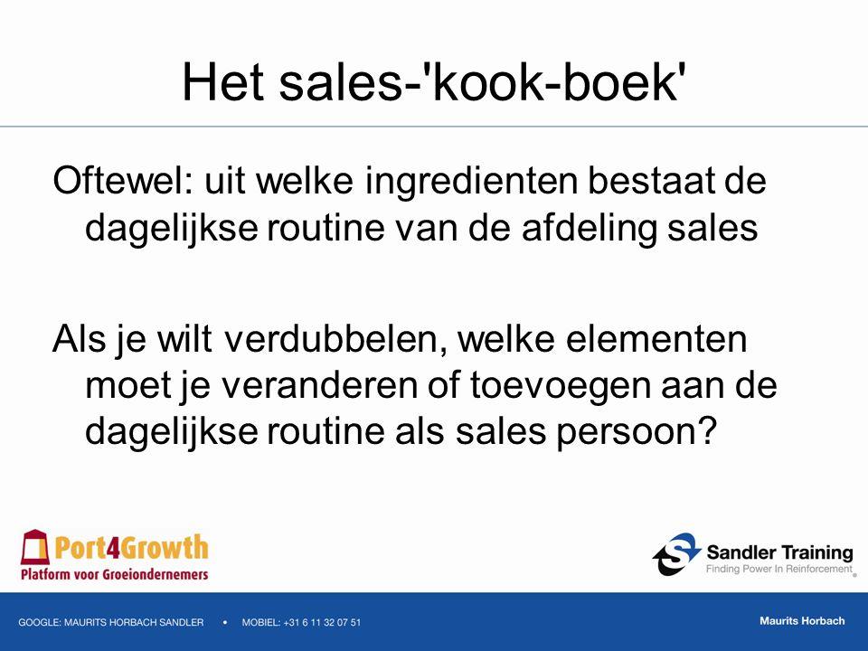 Het sales-'kook-boek' Oftewel: uit welke ingredienten bestaat de dagelijkse routine van de afdeling sales Als je wilt verdubbelen, welke elementen moe