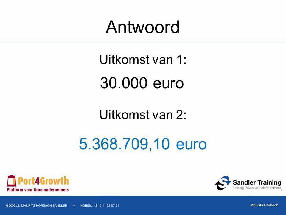 Antwoord Uitkomst van 1: Uitkomst van 2: 30.000 euro 5.368.709,10 euro