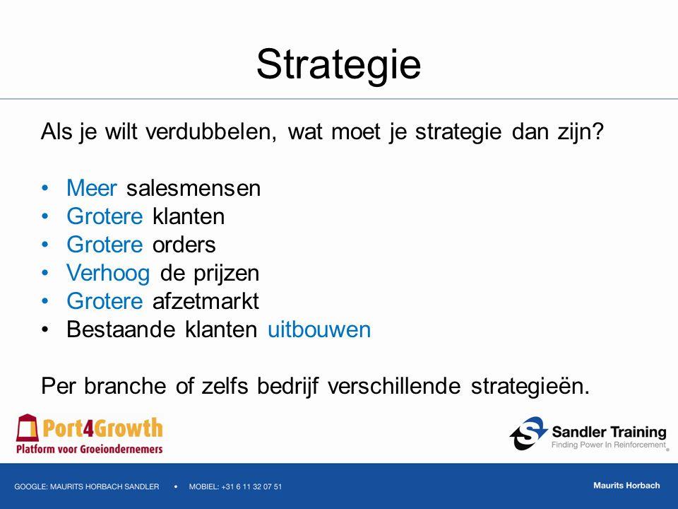 Strategie Als je wilt verdubbelen, wat moet je strategie dan zijn? Meer salesmensen Grotere klanten Grotere orders Verhoog de prijzen Grotere afzetmar