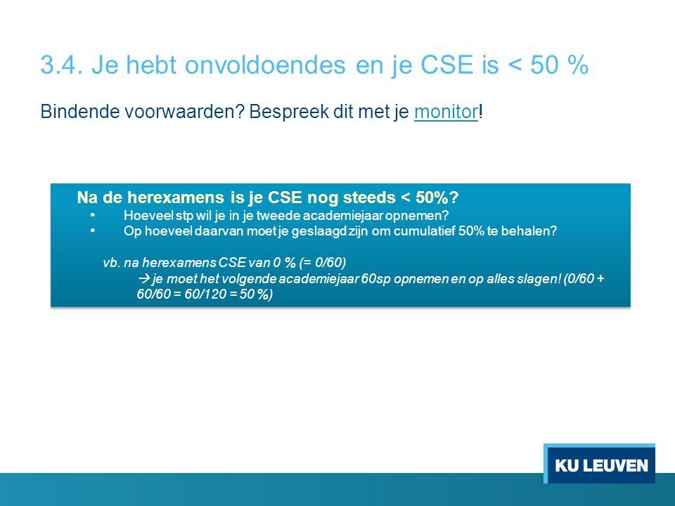 3.4. Je hebt onvoldoendes en je CSE is < 50 % Bindende voorwaarden.