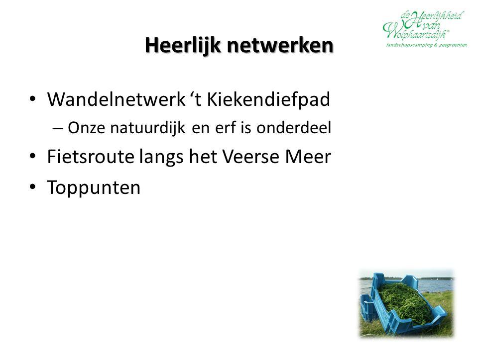 Heerlijk netwerken Wandelnetwerk 't Kiekendiefpad – Onze natuurdijk en erf is onderdeel Fietsroute langs het Veerse Meer Toppunten