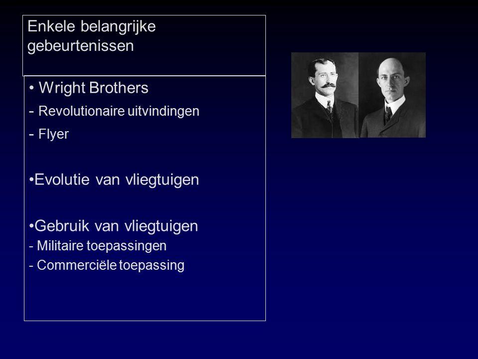 Enkele belangrijke gebeurtenissen Wright Brothers - Revolutionaire uitvindingen - Flyer Evolutie van vliegtuigen Gebruik van vliegtuigen - Militaire toepassingen - Commerciële toepassing