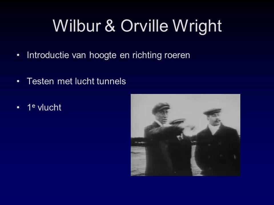 Wilbur & Orville Wright Introductie van hoogte en richting roeren Testen met lucht tunnels 1 e vlucht