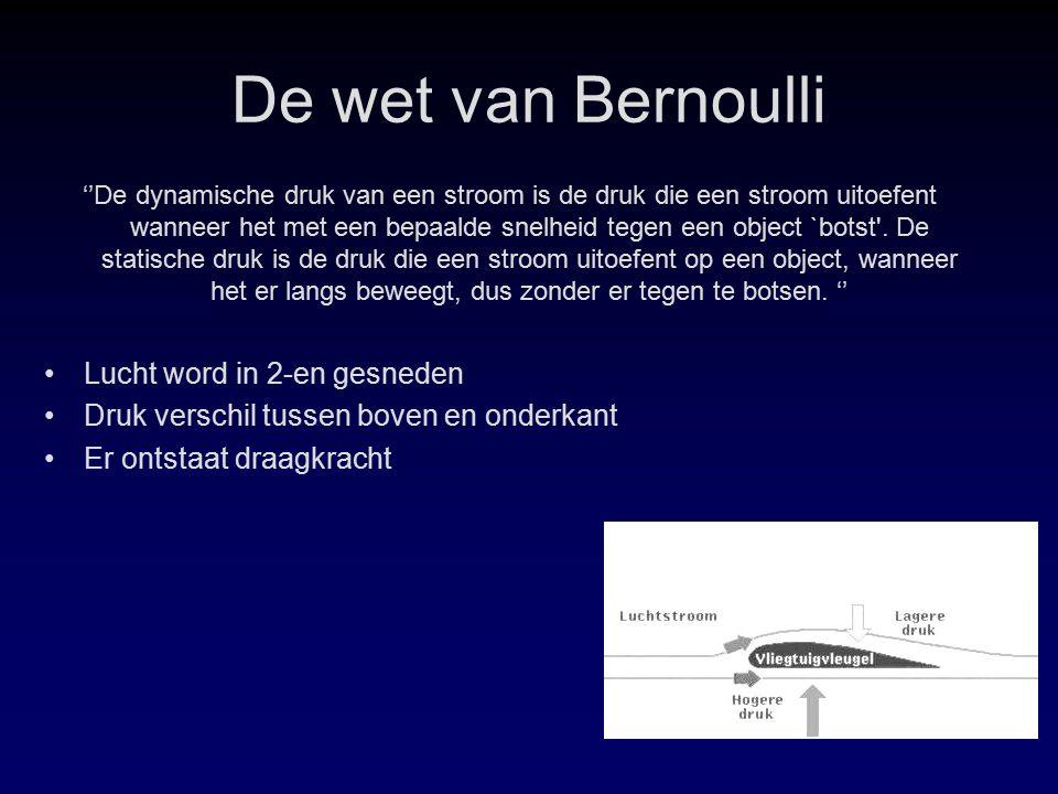 De wet van Bernoulli ''De dynamische druk van een stroom is de druk die een stroom uitoefent wanneer het met een bepaalde snelheid tegen een object `botst .