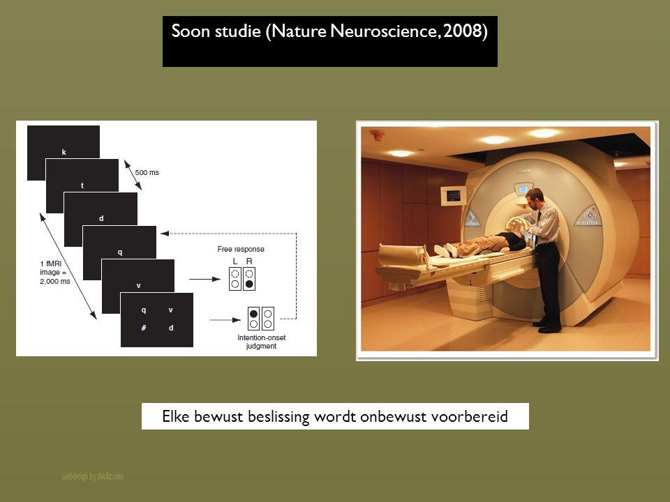 Soon studie (Nature Neuroscience, 2008) Elke bewust beslissing wordt onbewust voorbereid