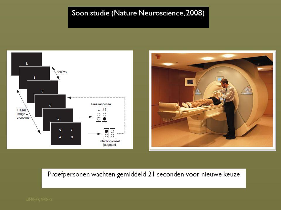 Soon studie (Nature Neuroscience, 2008) Proefpersonen wachten gemiddeld 21 seconden voor nieuwe keuze