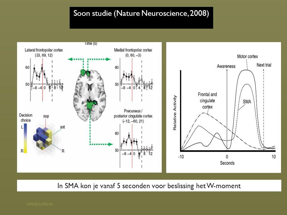 Soon studie (Nature Neuroscience, 2008) In SMA kon je vanaf 5 seconden voor beslissing het W-moment