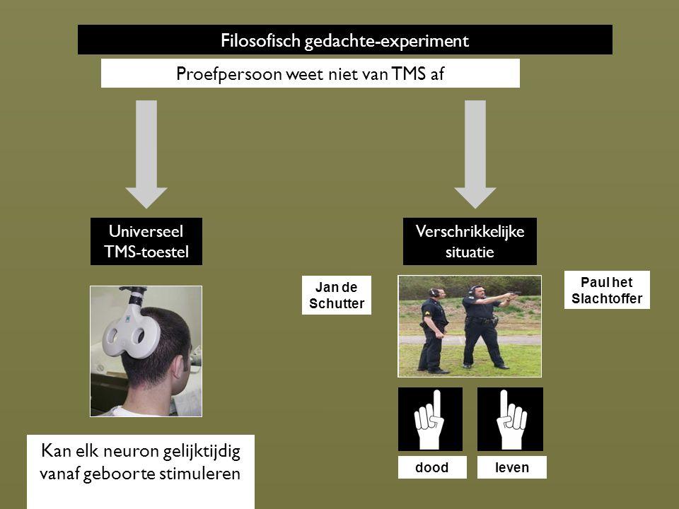 Filosofisch gedachte-experiment Universeel TMS-toestel Kan elk neuron gelijktijdig vanaf geboorte stimuleren Verschrikkelijke situatie doodleven Proefpersoon weet niet van TMS af Jan de Schutter Paul het Slachtoffer
