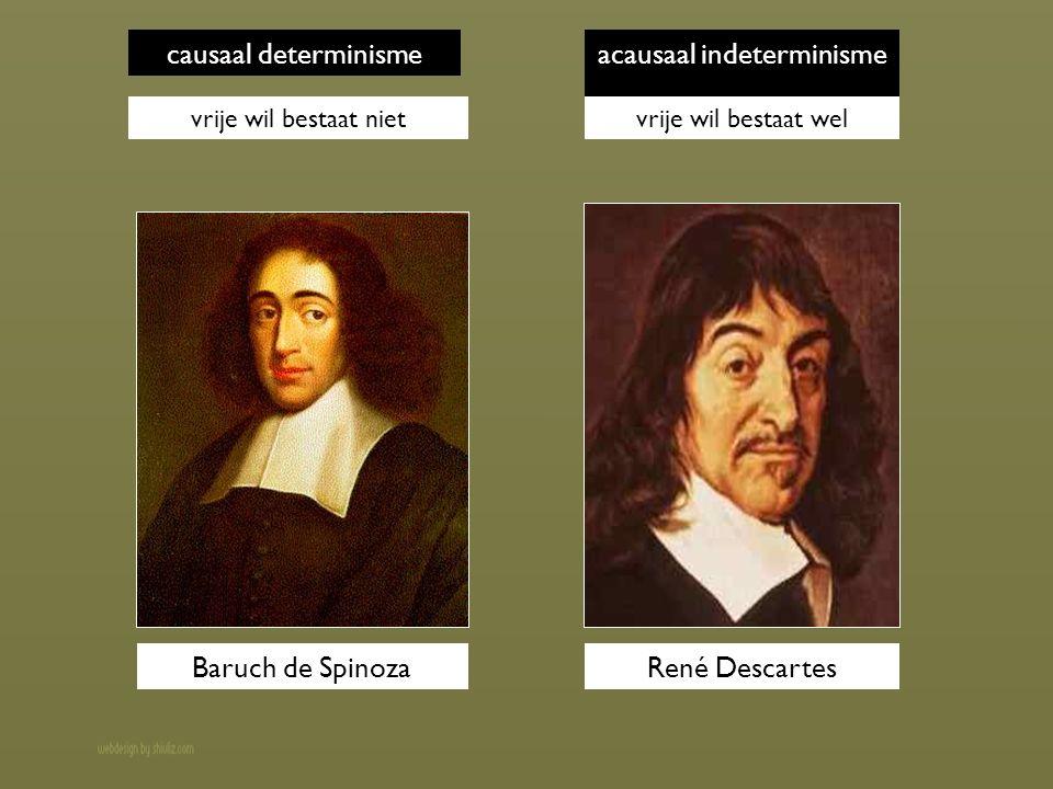 causaal determinisme vrije wil bestaat niet acausaal indeterminisme vrije wil bestaat wel Baruch de SpinozaRené Descartes