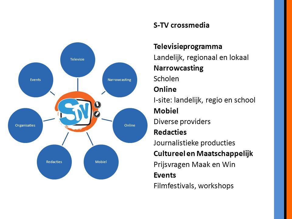 S-TV crossmedia Televisieprogramma Landelijk, regionaal en lokaal Narrowcasting Scholen Online I-site: landelijk, regio en school Mobiel Diverse provi