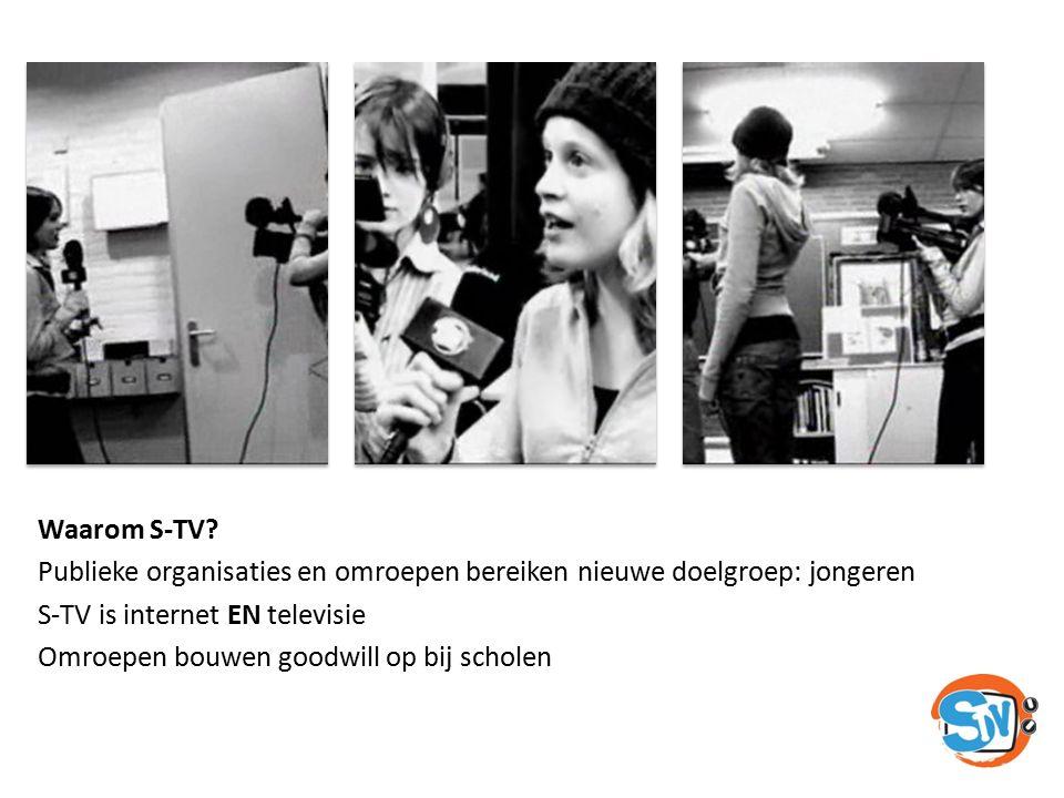 Waarom S-TV? Publieke organisaties en omroepen bereiken nieuwe doelgroep: jongeren S-TV is internet EN televisie Omroepen bouwen goodwill op bij schol