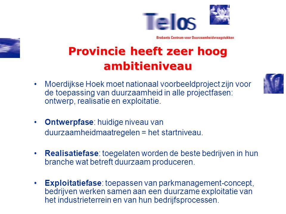 Provincie heeft zeer hoog ambitieniveau Moerdijkse Hoek moet nationaal voorbeeldproject zijn voor de toepassing van duurzaamheid in alle projectfasen: ontwerp, realisatie en exploitatie.