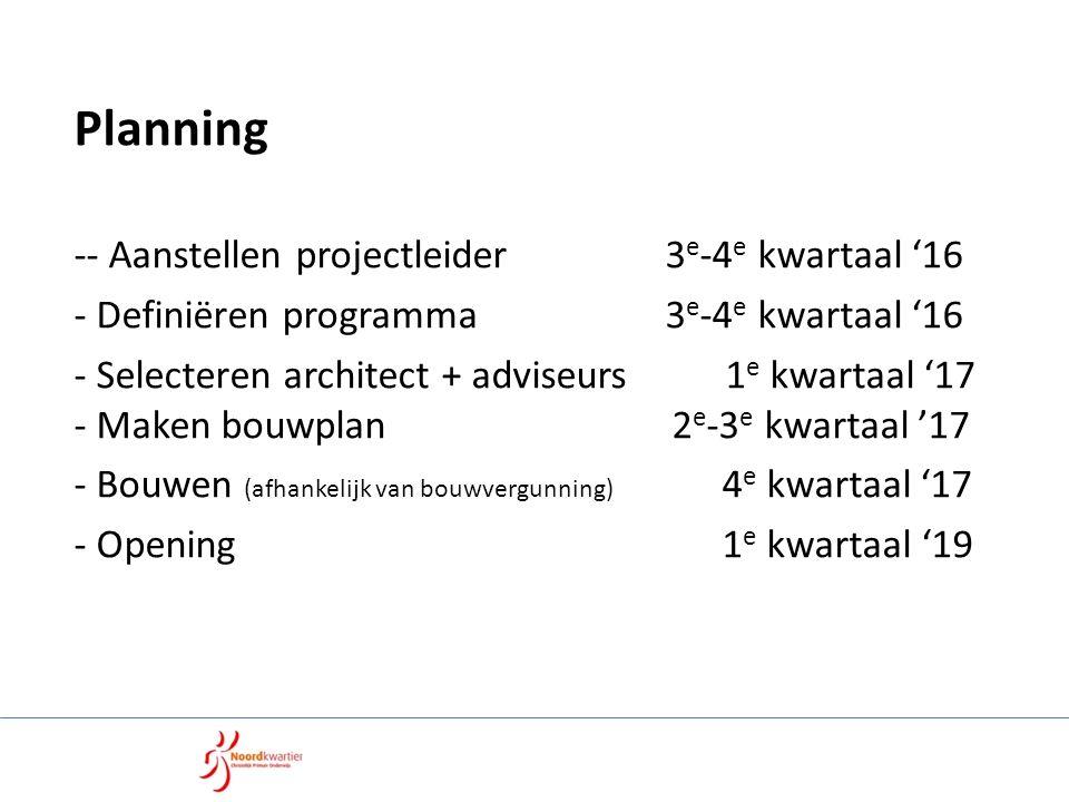 Planning -- Aanstellen projectleider 3 e -4 e kwartaal '16 - Definiëren programma 3 e -4 e kwartaal '16 - Selecteren architect + adviseurs 1 e kwartaal '17 - Maken bouwplan 2 e -3 e kwartaal '17 - Bouwen (afhankelijk van bouwvergunning) 4 e kwartaal '17 - Opening 1 e kwartaal '19