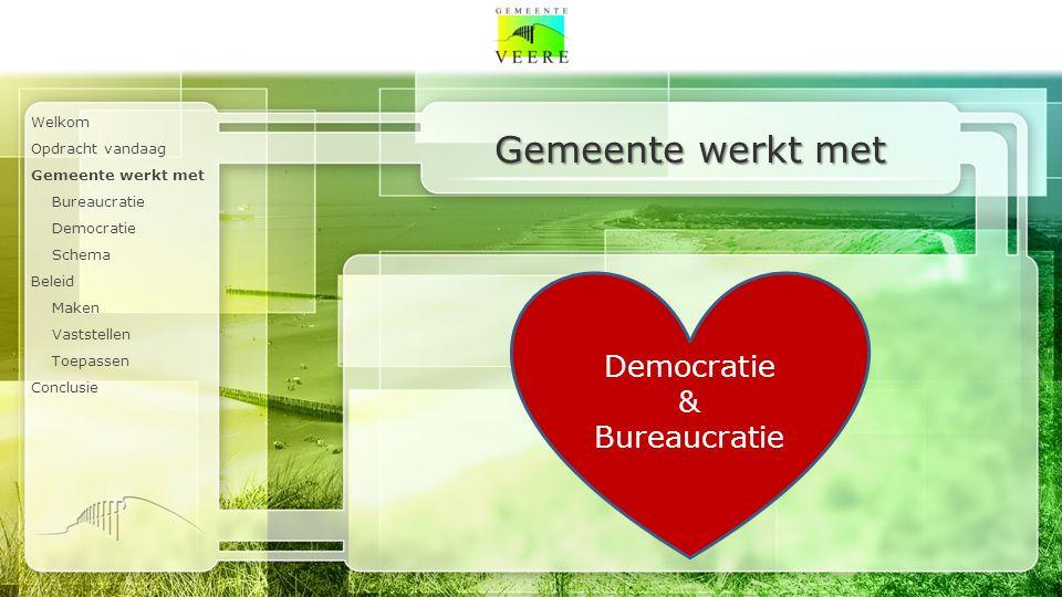 Welkom Opdracht vandaag Gemeente werkt met Bureaucratie Democratie Schema Beleid Maken Vaststellen Toepassen Conclusie Democratie & Bureaucratie Gemeente werkt met