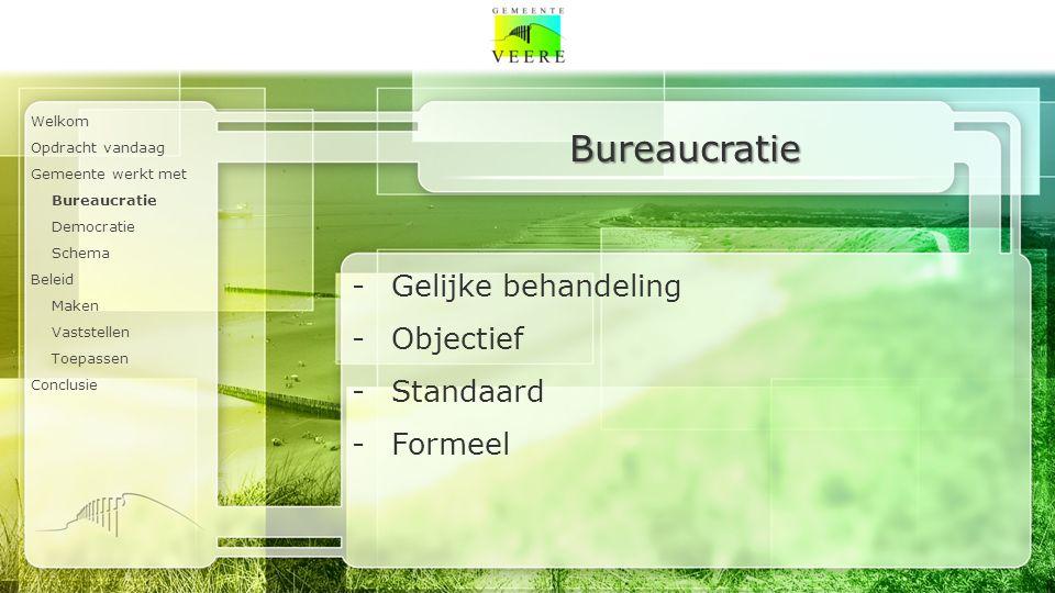 Welkom Opdracht vandaag Gemeente werkt met Bureaucratie Democratie Schema Beleid Maken Vaststellen Toepassen Conclusie Bureaucratie -Gelijke behandeling -Objectief -Standaard -Formeel