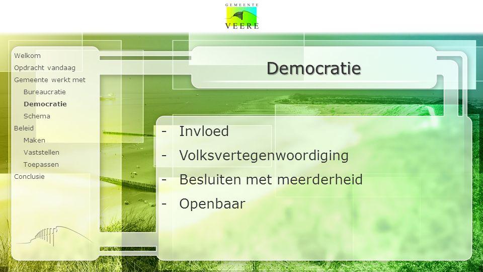 Welkom Opdracht vandaag Gemeente werkt met Bureaucratie Democratie Schema Beleid Maken Vaststellen Toepassen Conclusie Democratie -Invloed -Volksvertegenwoordiging -Besluiten met meerderheid -Openbaar