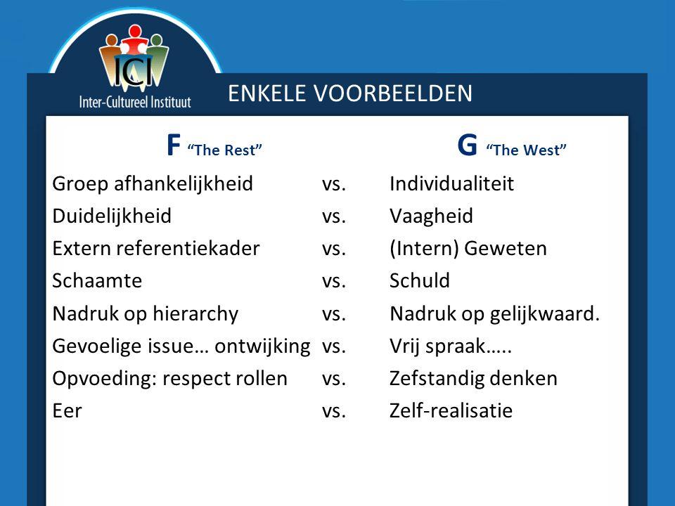 """ENKELE VOORBEELDEN F """"The Rest"""" G """"The West"""" Groep afhankelijkheid vs.Individualiteit Duidelijkheid vs.Vaagheid Extern referentiekader vs.(Intern) Gew"""