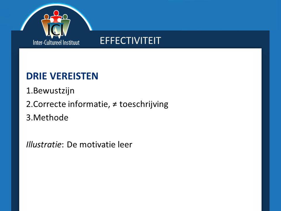 EFFECTIVITEIT DRIE VEREISTEN 1.Bewustzijn 2.Correcte informatie, ≠ toeschrijving 3.Methode Illustratie: De motivatie leer