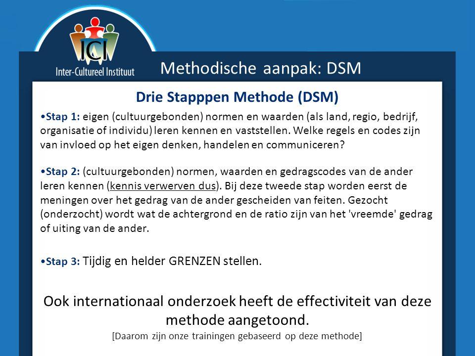 Methodische aanpak: DSM Drie Stapppen Methode (DSM) Stap 1: eigen (cultuurgebonden) normen en waarden (als land, regio, bedrijf, organisatie of individu) leren kennen en vaststellen.