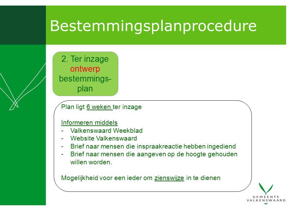 Bestemmingsplanprocedure 2. Ter inzage ontwerp bestemmings- plan Plan ligt 6 weken ter inzage Informeren middels -Valkenswaard Weekblad -Website Valke