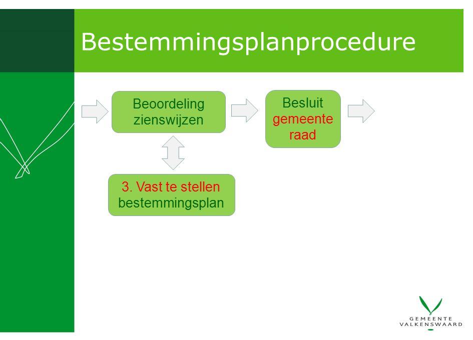 Bestemmingsplanprocedure Beoordeling zienswijzen Besluit gemeente raad 3. Vast te stellen bestemmingsplan