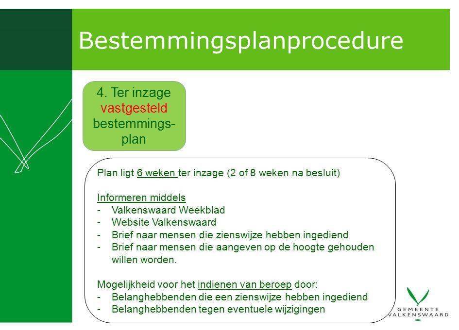 Bestemmingsplanprocedure 4. Ter inzage vastgesteld bestemmings- plan Plan ligt 6 weken ter inzage (2 of 8 weken na besluit) Informeren middels -Valken