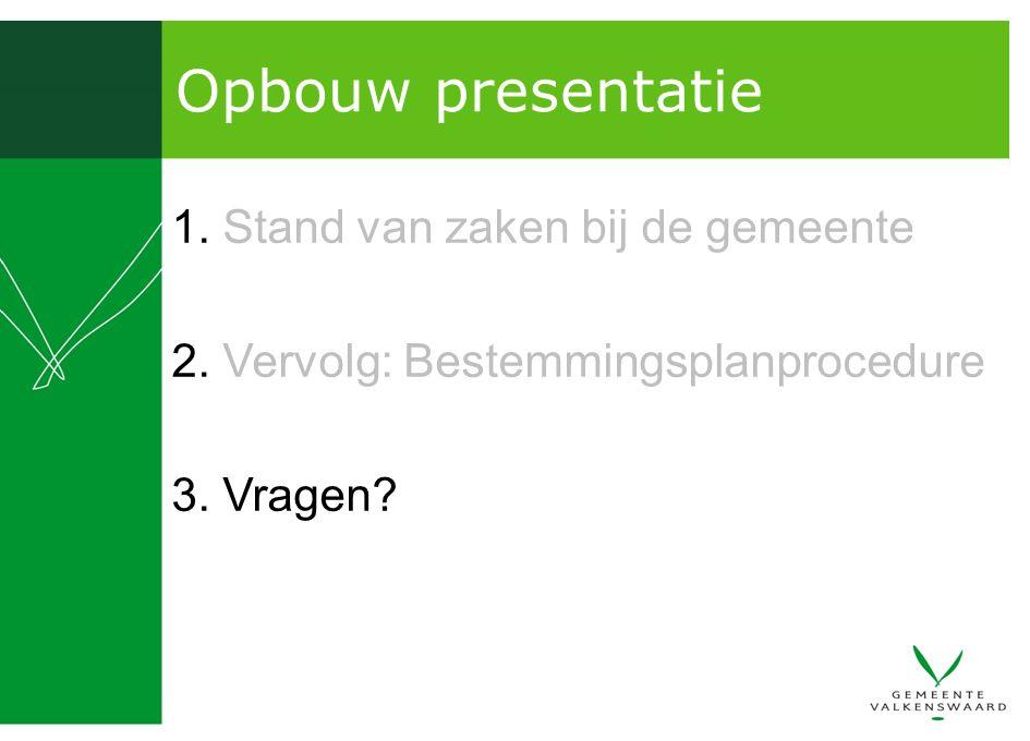 Opbouw presentatie 1. Stand van zaken bij de gemeente 2. Vervolg: Bestemmingsplanprocedure 3. Vragen?