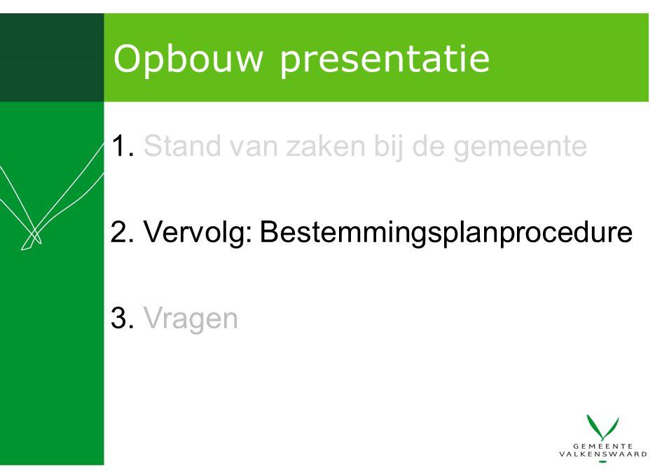 Opbouw presentatie 1. Stand van zaken bij de gemeente 2. Vervolg: Bestemmingsplanprocedure 3. Vragen