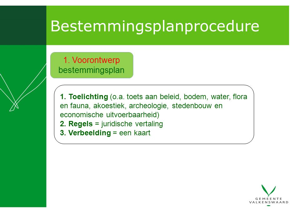 Bestemmingsplanprocedure 1. Toelichting (o.a. toets aan beleid, bodem, water, flora en fauna, akoestiek, archeologie, stedenbouw en economische uitvoe