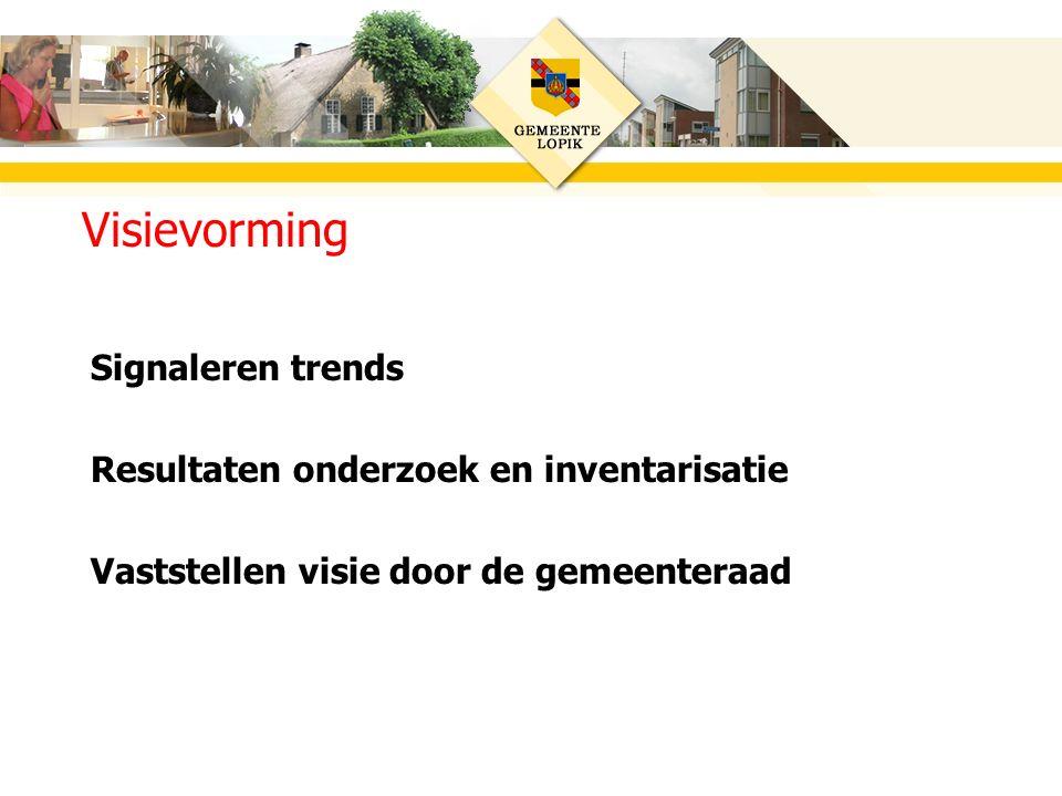 Signaleren trends Resultaten onderzoek en inventarisatie Vaststellen visie door de gemeenteraad Visievorming